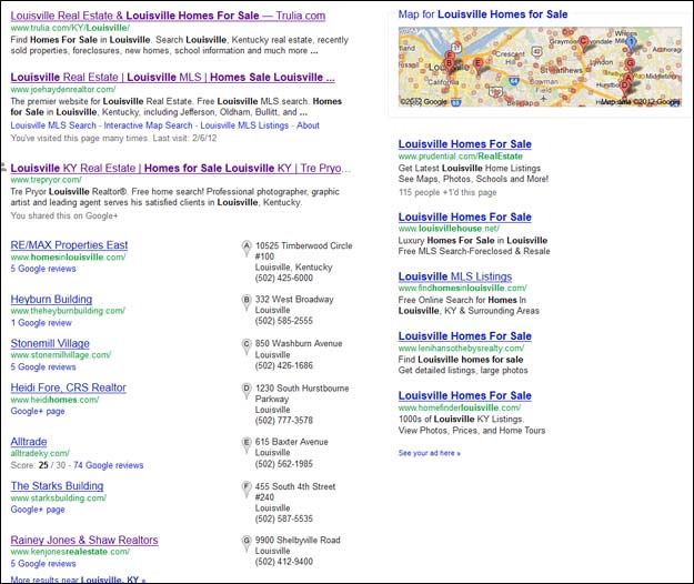 Screen capture of Google search results for the phrase Louisville homes for sale