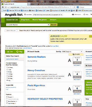 Screen shot of Angies List results page for Louisville Realtors