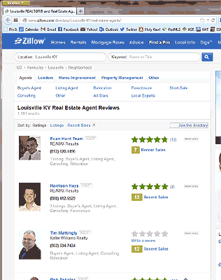 Screen shot of Zillow search results for Louisville KY Real Estate Agent Reviews