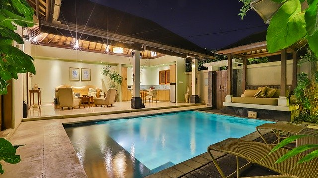 Photo of a home's outdoor living space with a pool