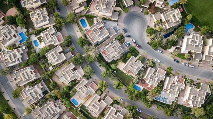 Photo of an overhead view of a neighborhood of homes