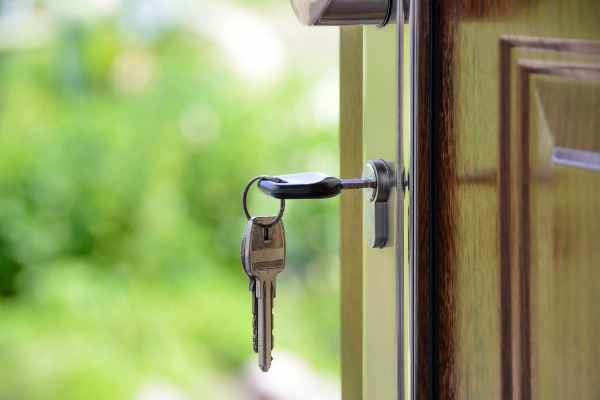 Photo of a key in a home's front door