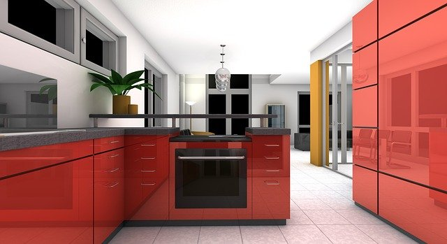 Rendering of a modern kitchen
