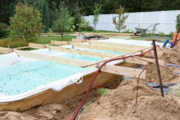 Photo of an inground pool being installed