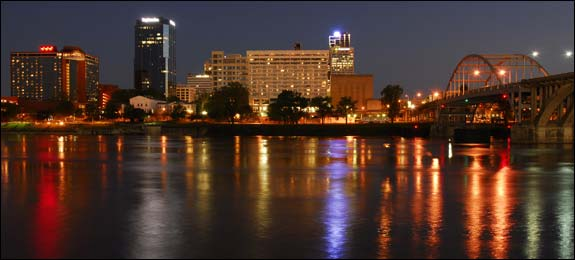 Photo of A view of Little Rock, Arkansas at night.